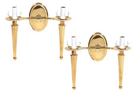 Brass Candelabra Sconces, Pair