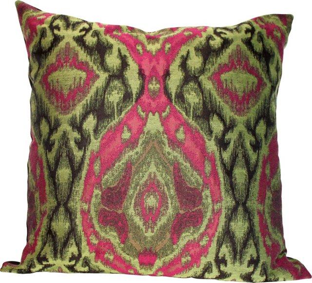 Custom Green & Magenta Ikat Pillow