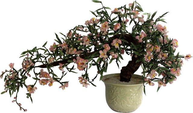 Jadeite Bonsai Tree in Celadon Pot