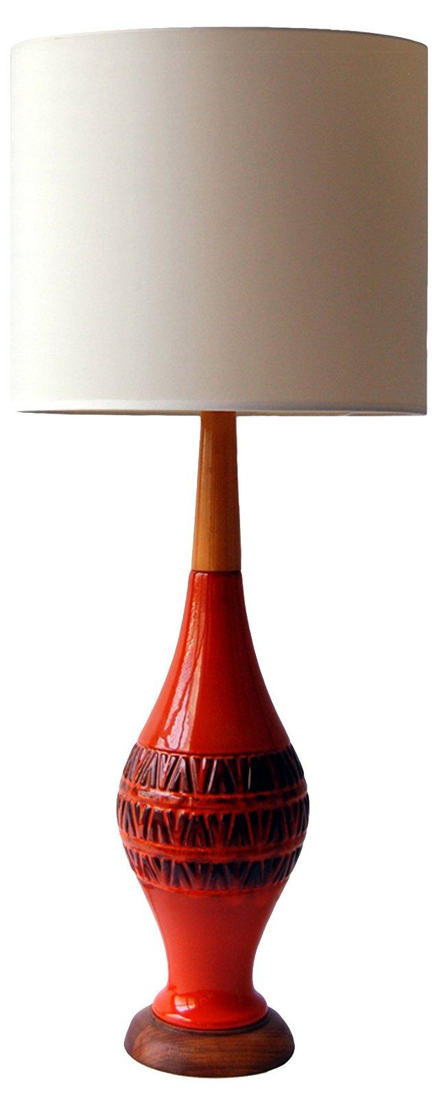 Mid-Century Modern Orange Ceramic Lamp