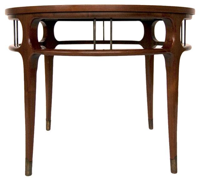 Modern Walnut & Brass Side Table