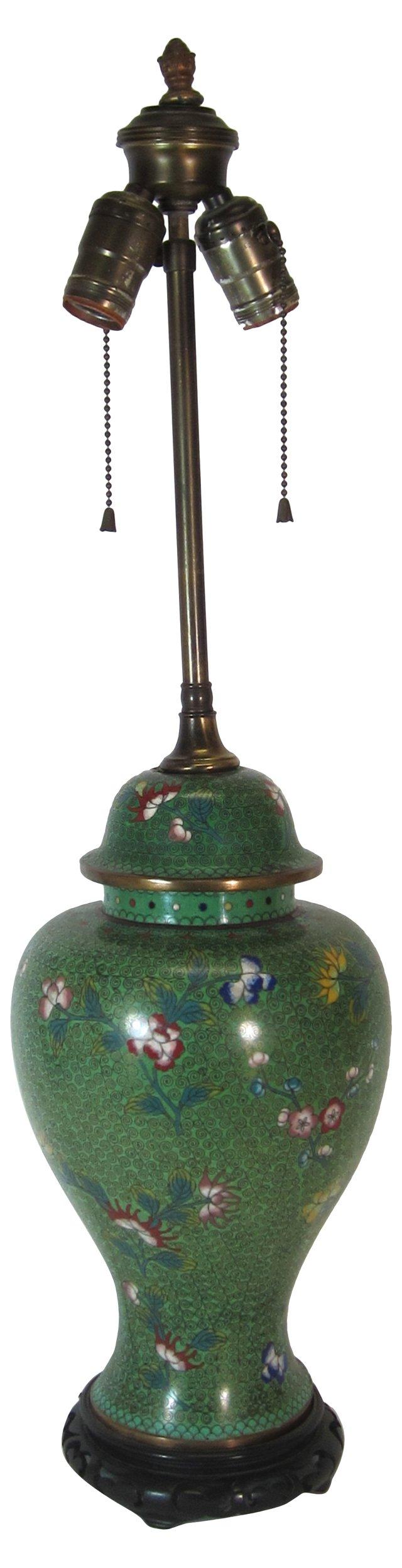 1920s Cloisonné Ginger Jar Lamp