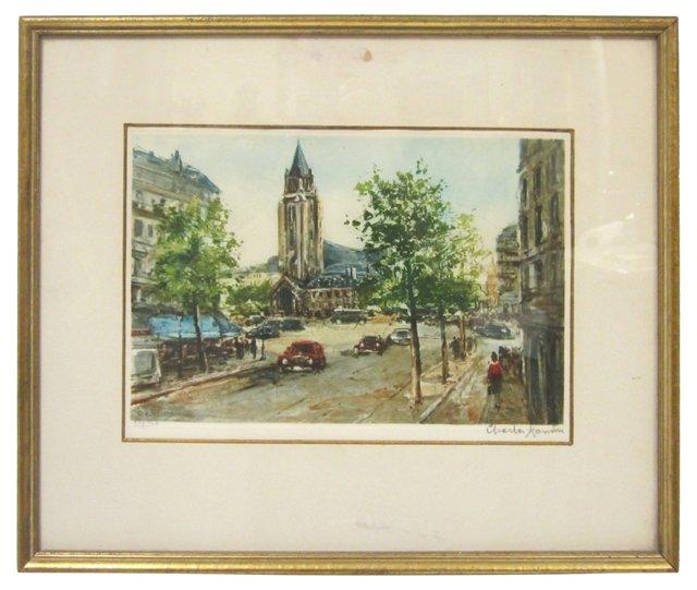 Paris Street Scene by  Charles Blondin