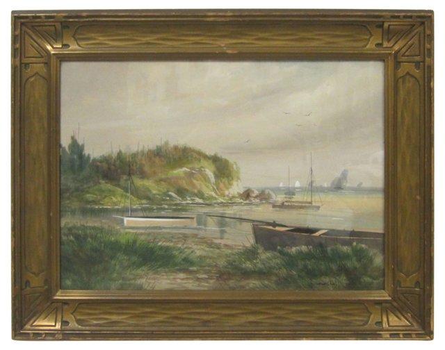 Fishing Boats in Harbor by Howard Gray