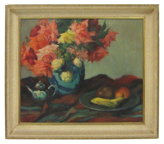 Still Life of Roses in Vase w/ Fruit
