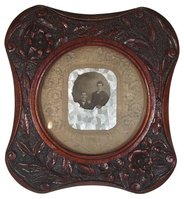 Folk Art Walnut Frame w/ Photograph