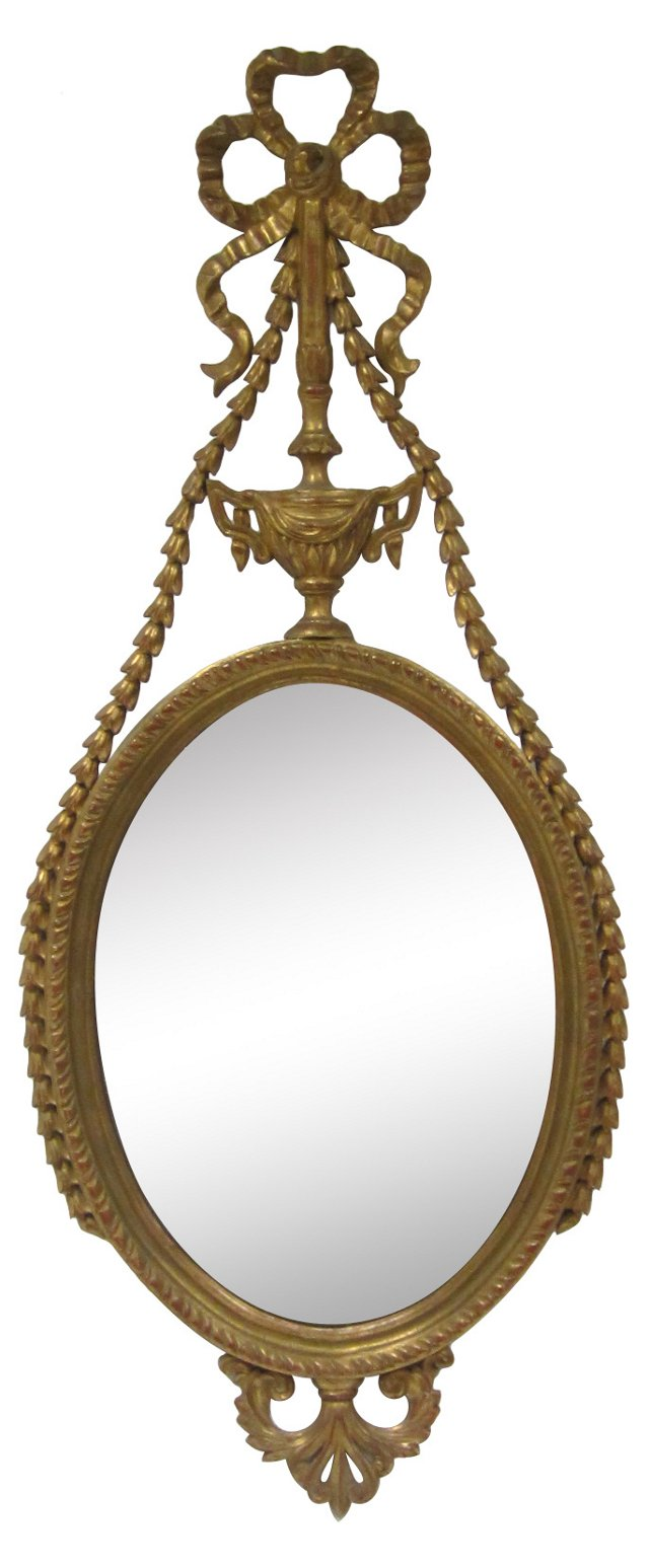 Carved Giltwood Mirror w/ Bow
