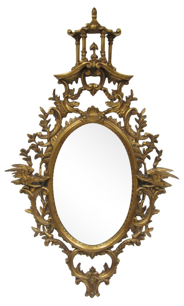 Carved Wood Chinese Chippendale Mirror