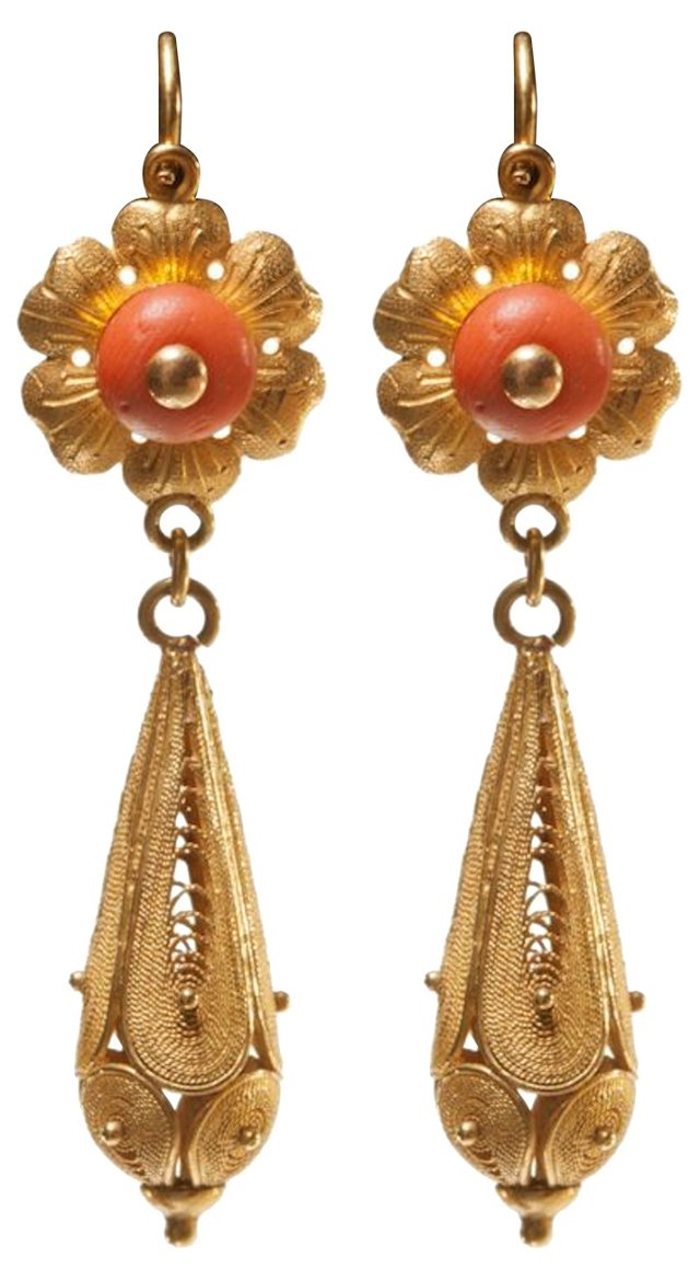 Antique Gold & Coral Earrings