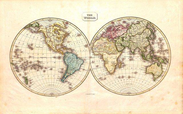 World Map, Hemispheres, 1823