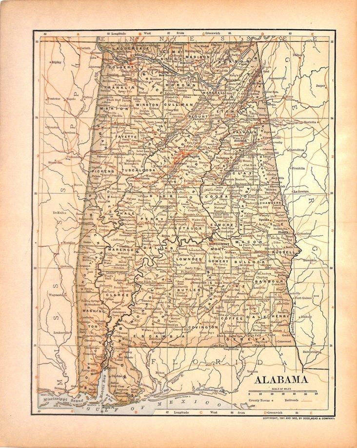 Map of Alabama, 1903
