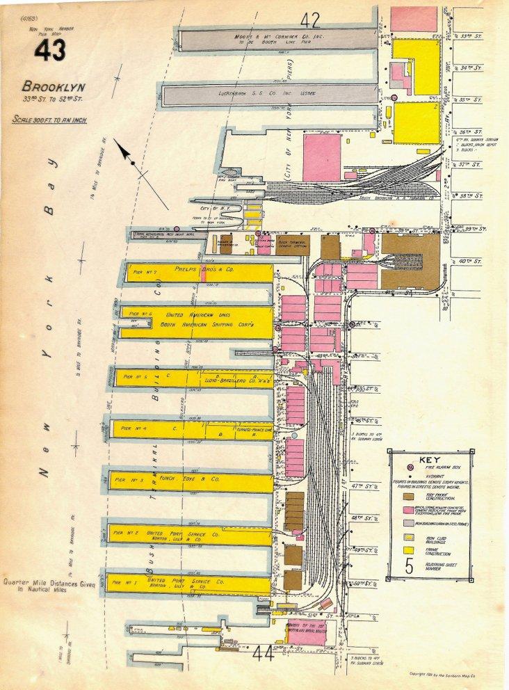 Brooklyn, NY, Pier Map, 33rd St., 1922