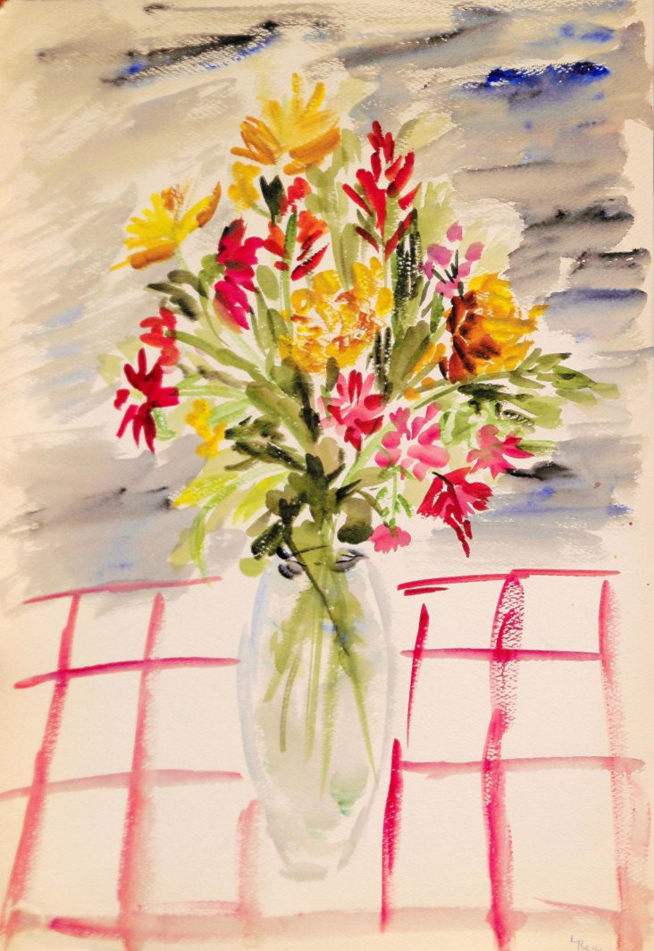 Bouquet on Checkered Tablecloth, 1960