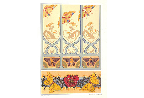 Art Nouveau Design Sheet, Rose