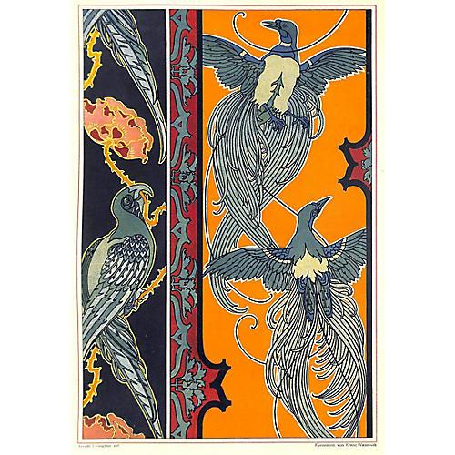 Art Nouveau Parrots, 1899