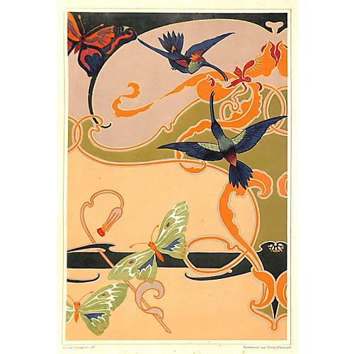 Art Nouveau Hummingbirds, 1899