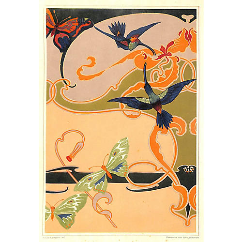 Art Nouveau Hummingbirds, 1899