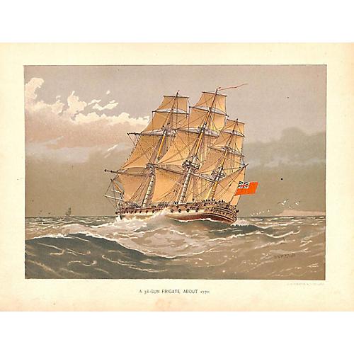 Frigate, Antique Ship Print