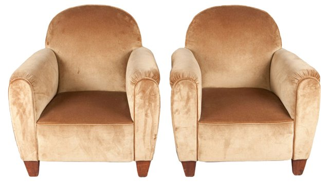 French Club  Armchairs, Pair