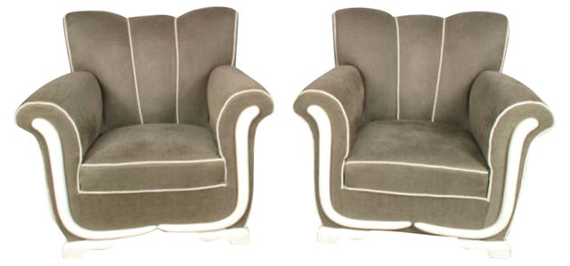 1940s French  Armchairs, Pair