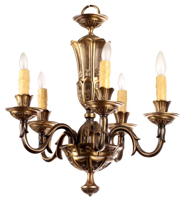 French Gilded Bronze Chandelier