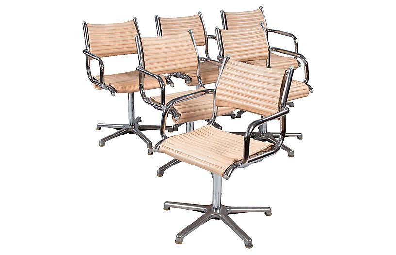 1970s Chrome Armchairs, S/6