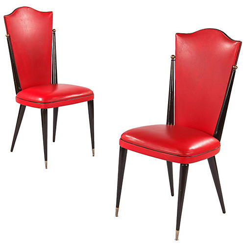 French Red Side Chairs, Pair