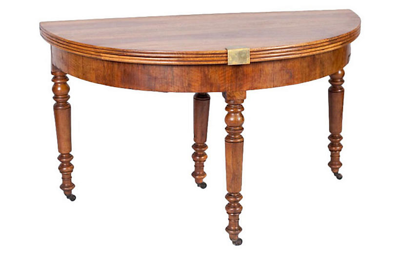 French Louis Philippe Demilune Table