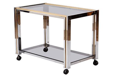 French   Chrome & Brass Bar Cart