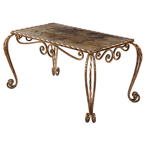 French Mirrored-Top Metal Coffee Table
