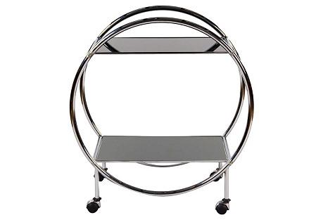 French Chrome & Glass Bar Cart