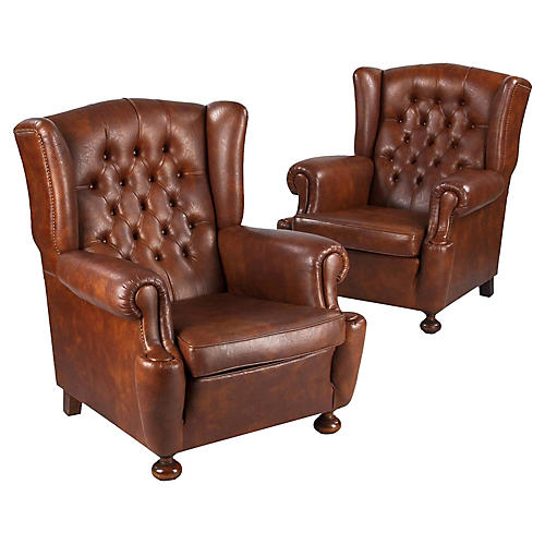 French Tufted Wingback Chairs, Pair