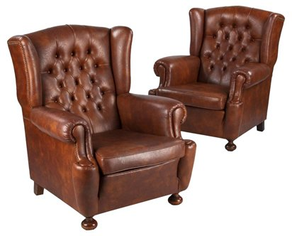 French Tufted Wingback Chairs Pair