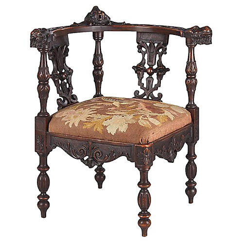 French Renaissance Revival Corner Chair