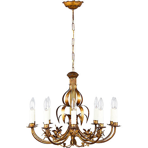 1940s French Gilded Metal Chandelier