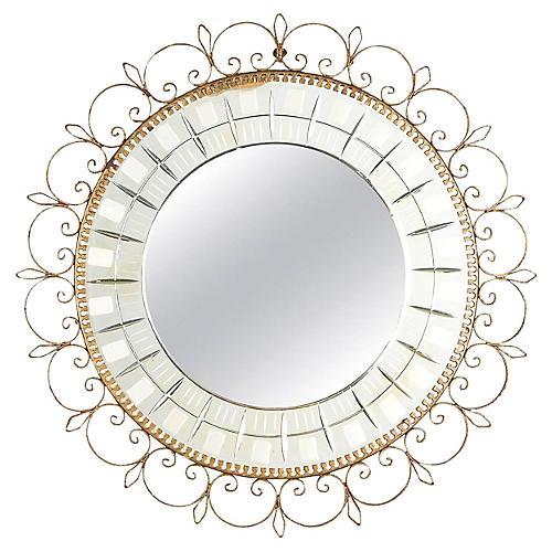 Mid-Century French Brass Round Mirror