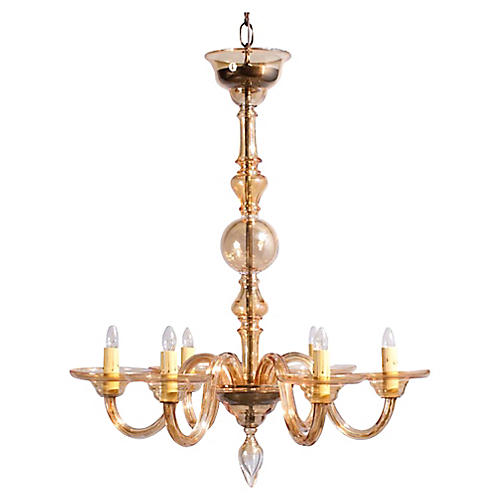 1940s Amber Murano Glass Chandelier