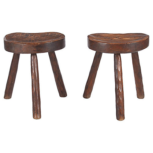 Pair of French Country Ashwood Stools