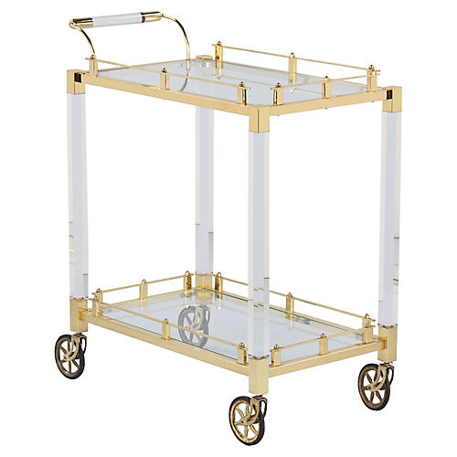 Spanish Lucite and Brass Bar Cart 1970s