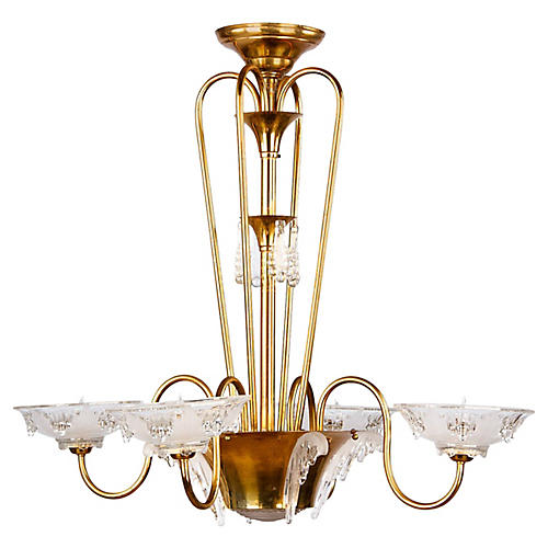 French Art Deco Chandelier by Ezan