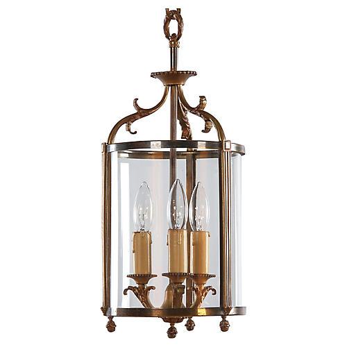 Louis XVI Style Brass Lantern, 1940s
