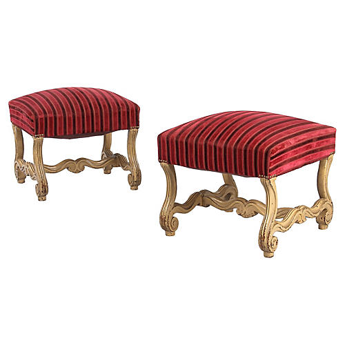 Pair of Louis XIV Style Painted Ottomans