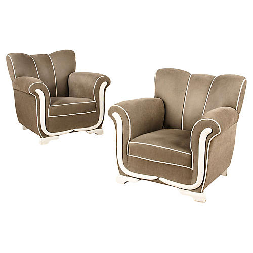 Pair of Art Deco French Armchairs, 1940