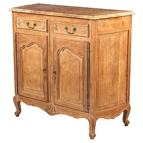 Louis XV Style Marble-Top Oak Buffet