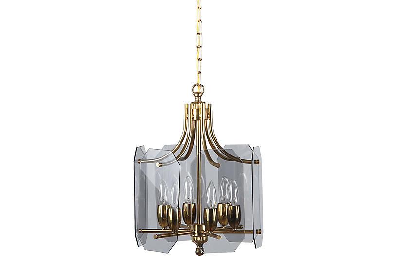 Midcentury French Brass Chandelier