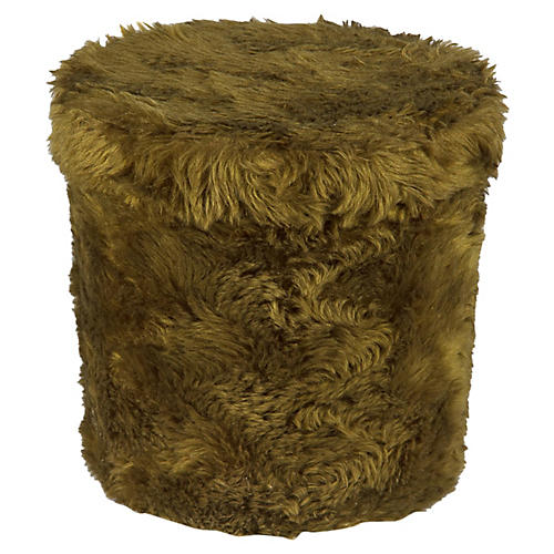 French Vintage Green Pouf Stool, 1970s