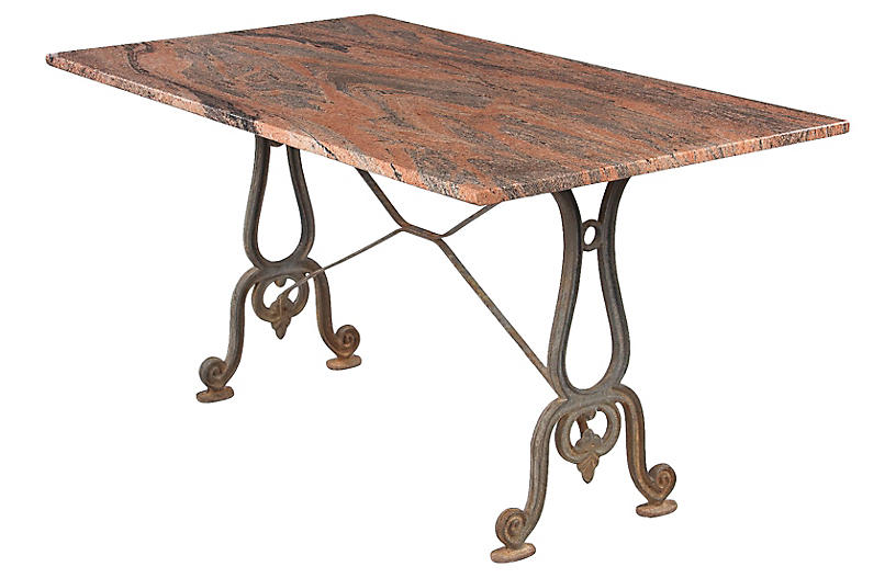 French Granite Top Bistro Table, 1920s