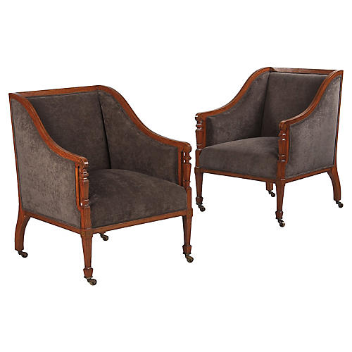 French Directoire Armchairs, Pair