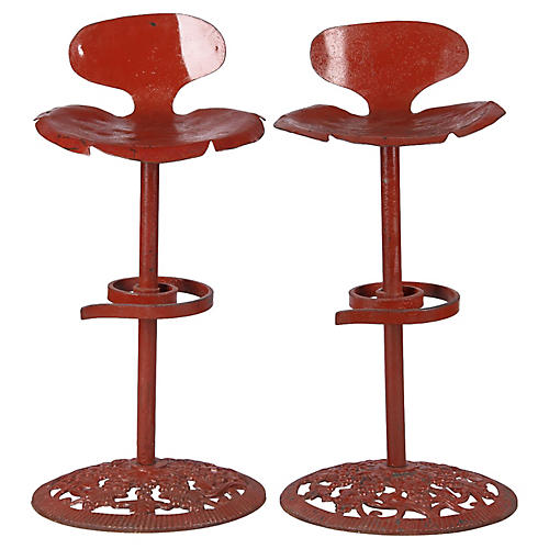 Pair of French Vintage Iron Bar Stools