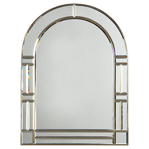 Italian Beveled Glass and Brass Mirror